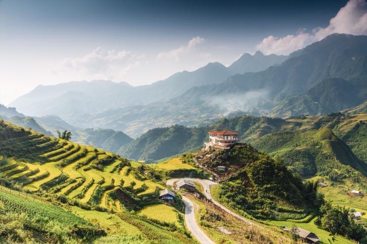 Hilltop village, Muong Hoa valley terraced fields, Sa Pa Town, Vietnam.jpg